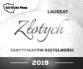 Baner z nagrodą Złotego Certyfikatu Rzetelności 2019