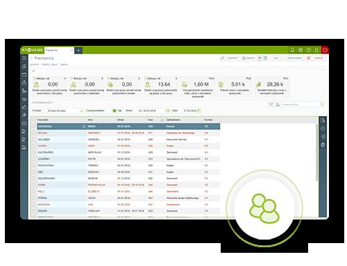 screen z systemu ERP enova365 kadry płace
