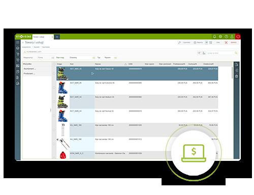 screen z systemu erp enova365 - zarządzanie produktami