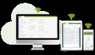 system ERP w chmurze - urządzenia ze screenami z systemu enova365