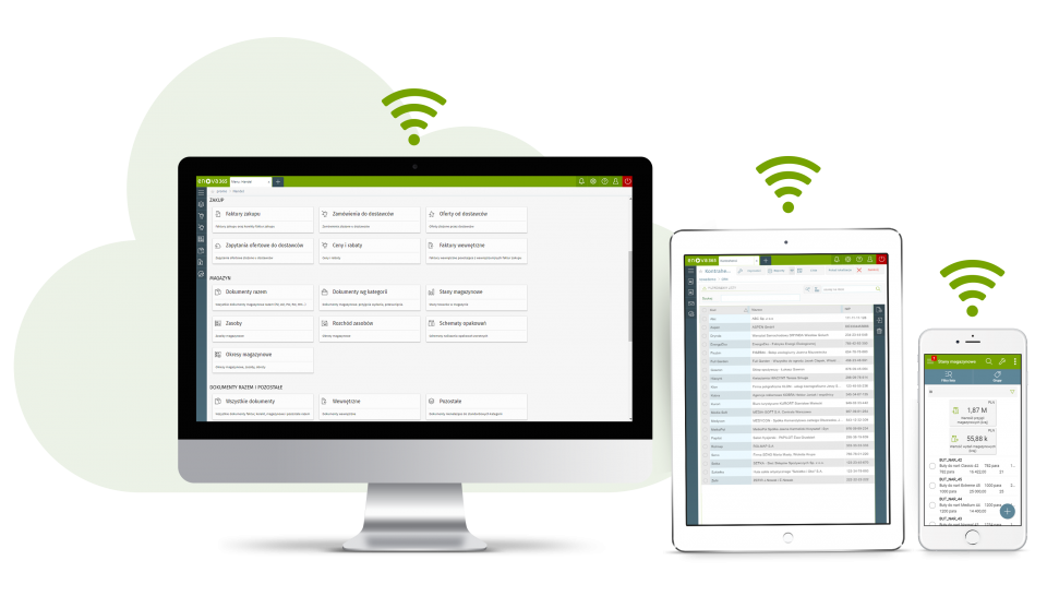 schemat system ERP w chmurze - urządzenia ze screenami z systemu enova365