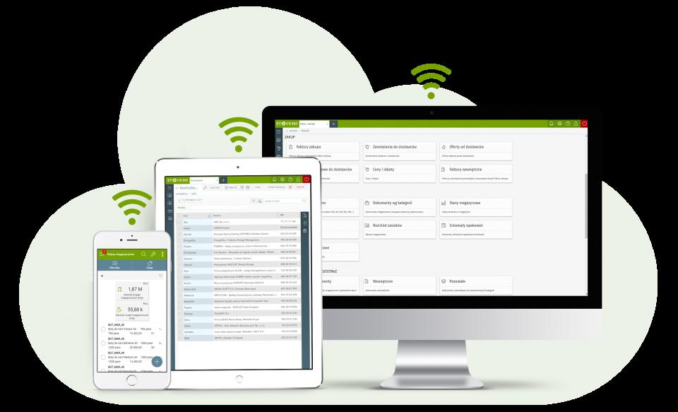 Urządzenia tablet smartphone i ekran komputera z systemem ERP enova365 pracującem w chmurze