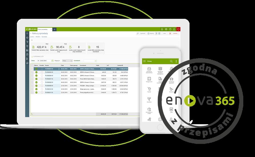 system erp enova365 zawsze zgodny z przepisami - mockup urządzeń z emblematem gwarancja zgody z przepisami prawa
