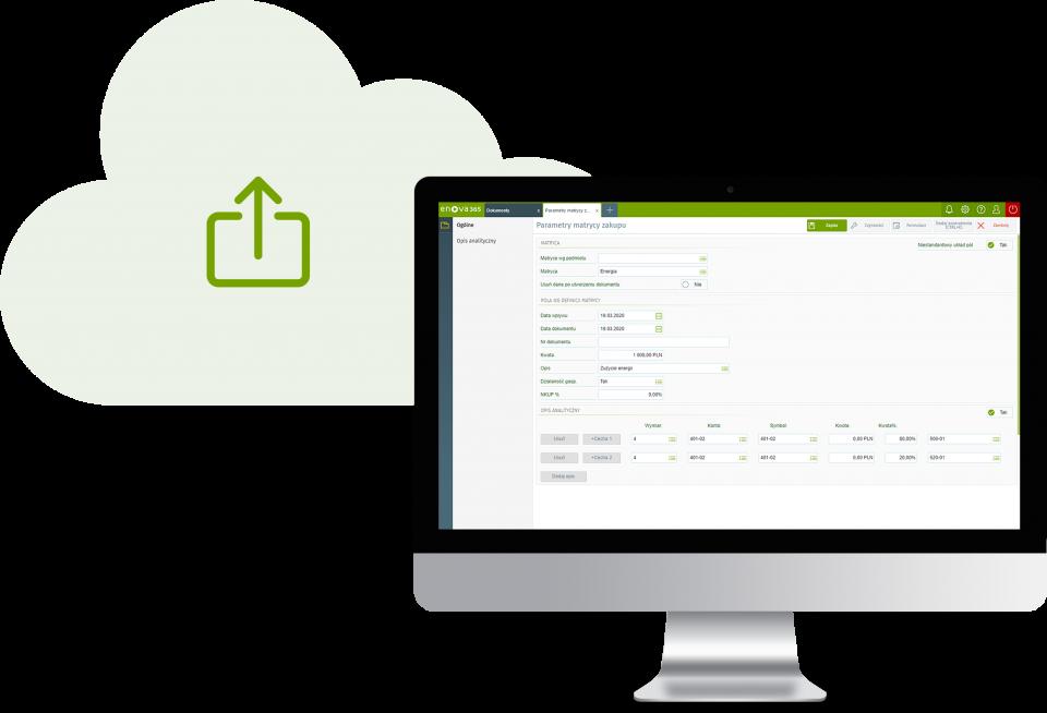 Presyłanie kopii zapasowych baz danych firmy do chmury - ekran z systemem erp enova365 i symbol uploadu do chmury
