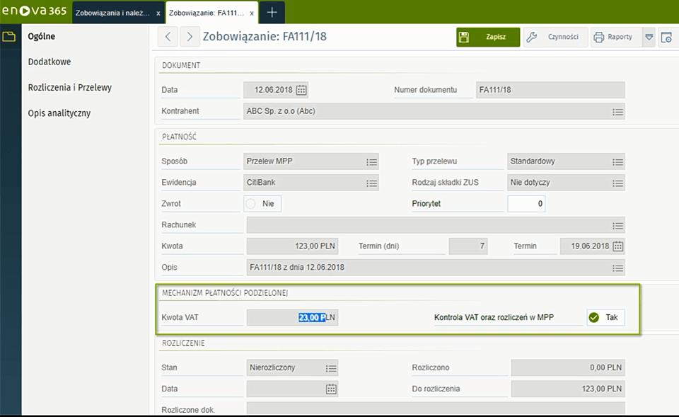 screen z systemu ERP enova365 - split payment
