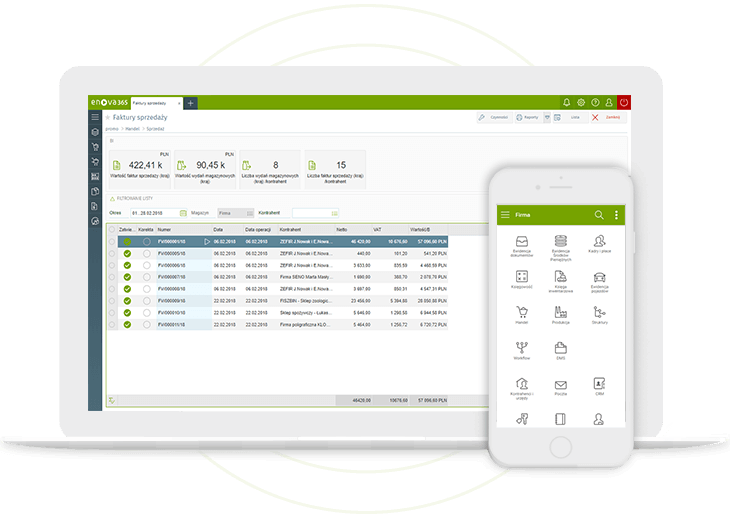 System ERP enova365 na laptopie i na smartfonie